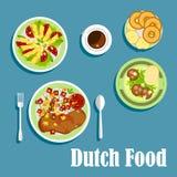 Platos y postres holandeses nacionales de la cocina ilustración del vector