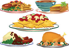 Plats assortis de nourriture Photo libre de droits