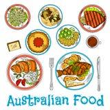 Plats authentiques de croquis australien de cuisine illustration de vecteur