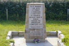 Plats av den första amerikankyrkogården för WW II i Frankrike, Omaha Beach arkivfoton