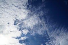 Plats av det utsmyckade vita molnet för fri form som per fantasi på ljus bakgrund för blå himmel Fotografering för Bildbyråer