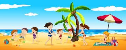 Plats av folk som har gyckel på stranden stock illustrationer
