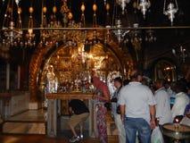 PLATS AV KORSFÄSTELSE, GOLGOTHA, KYRKA AV DEN HELIGA GRIFTEN, JERUSALEM Royaltyfria Bilder