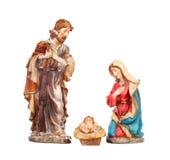 Plats av Kristi födelsen: Mary, Joseph och behandla som ett barn Jesus Arkivbilder
