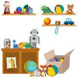 Plats av leksaker på hyllor och skåp royaltyfri illustrationer