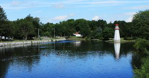 Plats av Wellington Park i Simcoe, Ontario Arkivfoton
