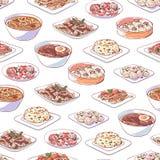 Plats chinois de cuisine sur le fond blanc image stock