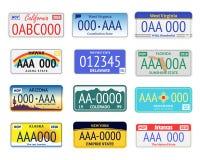 Plats d'immatriculation de véhicules réglés Vecteur illustration stock