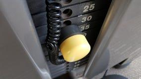 Plats de poids de gymnase avec la goupille jaune Photographie stock libre de droits