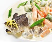 Plats de poisson chauds - filet de truite Image stock