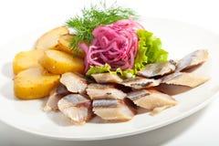 Plats de poisson froids - poissons avec la pomme de terre Photo libre de droits