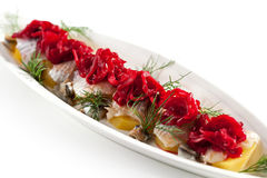 Plats de poisson froids - poissons avec la pomme de terre Photographie stock