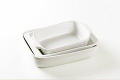 Plats de porcelaine rectangulaires Photo libre de droits