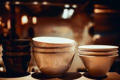 Plats de soupe vides photo stock