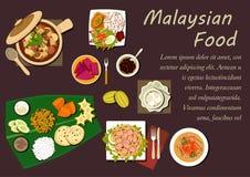 Plats et desserts malaisiens de cuisine Photographie stock libre de droits