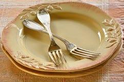 Plats et fourchettes rustiques Photo libre de droits