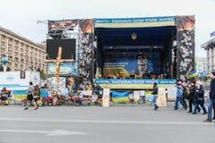 Plats. Euromaidan Kyiv efter protest 10.04.2014 Fotografering för Bildbyråer