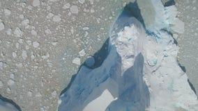 Plats för Antarktis flyg- sikt för hård isglaciär arkivfilmer