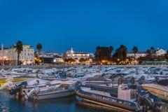 Plats för Faro Portugal marinanatt arkivfoton