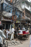 Plats för gatamarknad i New Delhi, lopp till Indien Arkivfoton