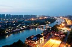 Plats för Hangzhou kanalnatt Arkivfoto