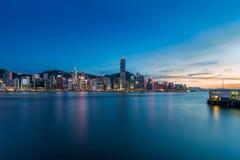 Plats för Hong Kong Victoria hamnnatt Royaltyfri Fotografi