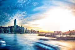 Plats för Hong Kong Victoria hamnnatt Royaltyfria Foton
