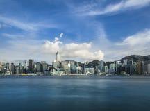 Plats för Hong Kong Victoria hamnnatt Arkivfoto