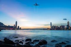 Plats för Hong Kong Victoria hamnnatt Arkivfoton