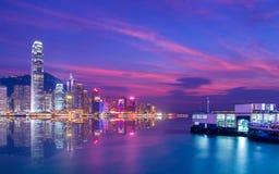 Plats för Hong Kong Victoria hamnnatt Royaltyfria Bilder