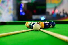 plats för lek för billiardbiljardklubba Fotografering för Bildbyråer