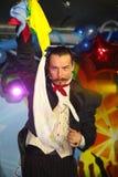 Plats för Maestro Magician Illusionist Does Show inredesign Arkivbilder