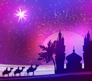 Plats för magi tre och skinande stjärna av Bethlehem vektor illustrationer