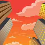Plats för natt för vektor för skyskrapabyggnadsperspektiv Arkivfoton
