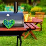 Plats för parti för BBQ-sommarträdgård Arkivfoto