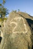 Plats för Petroglyph för tre floder nationell, byrå för a (BLM) av landledningplatsen, särdrag en bild av ett Eagle huvud, en av  Royaltyfri Fotografi