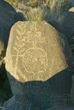 Plats för Petroglyph för tre floder nationell, byrå för a (BLM) av landledningplatsen, särdrag indierpe för mer än 21.000 indian Arkivbilder