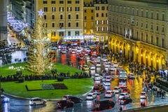 Plats för piazzaVenezia natt, Rome, Italien Royaltyfri Fotografi