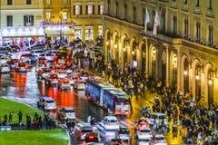 Plats för piazzaVenezia natt, Rome, Italien Fotografering för Bildbyråer