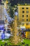 Plats för piazzaVenezia natt, Rome, Italien Royaltyfri Foto