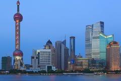 Plats för Shanghai pudong lujiazuinatt Arkivbilder