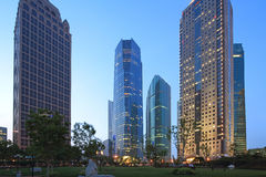 Plats för Shanghai pudong lujiazuinatt Fotografering för Bildbyråer