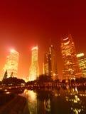 Plats för Shanghai stadsnatt Arkivfoton