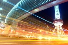 Plats för Shanghai stadsnatt Royaltyfri Bild