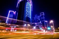 Plats för Shanghai stadsnatt Fotografering för Bildbyråer