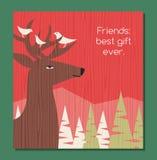 Plats för vinter för feriehälsningkort med hjort- och fågelvänner Royaltyfria Foton
