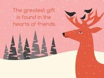 Plats för vinter för feriehälsningkort med hjort- och fågelvänner Royaltyfri Fotografi
