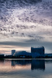 plats för regn för universitetsområdelakeside magnificenty Arkivfoton