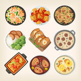 Plats faits maison de dîner illustration stock