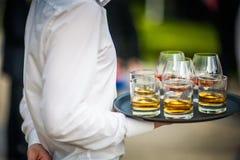 Plats gastronomiques et boissons approvisionnant (cognac et whiskey) Photo libre de droits